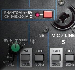 Phantom Power Comutável & Botão de PAD